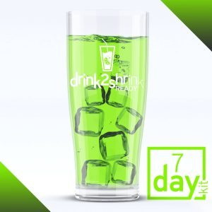 Glass of ice with green drink